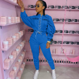 Letter Embroidery Long Sleeve Lace Up Sweatshirt And Sweatpant Suits MYF-064