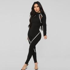 Casual Zipper Skinny Long Sleeve Jumpsuit SMF-8053