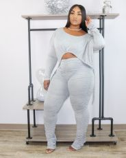 Slim Fit Drawstring Top And Stacked Pants Two Piece Sets XYF-9060