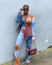 Tie Dye V Neck Tops Flared Pants 2 Piece Sets CYA-8764