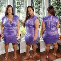 Plus Size 5XL V Neck Sequined High Waist Club Dress CYA-1307