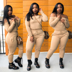Plus Size Fashion Sexy Solid Color Long Sleeve Two Piece Set LLF-8803