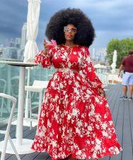 Plus Size 5XL Floral Print Big Swing Maxi Dress CYA-1320