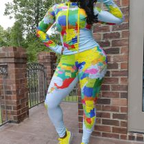 Plus Size 4XL Map Print Tracksuit Long Sleeve Top And Pants Two Piece Set SHA-6202