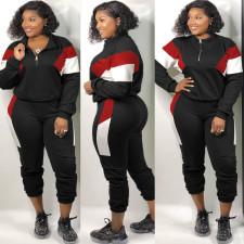 Plus Size 4XL Casual Color Contrast Patchwork Long Sleeve Pants Suit ONY-5066