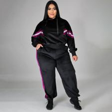 Plus Size 4XL Casual Velvet Patchwork Long Sleeve Trousers Suit ONY-5067