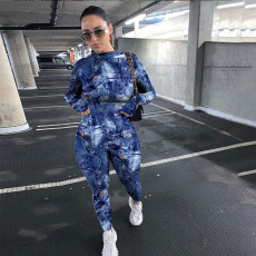 Fashion Sexy Print Tight Sports Long Sleeve Jumpsuit SHA-6200