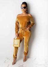 Solid Color Velvet Long Sleeve Trousers Two Piece Set YIY-5135