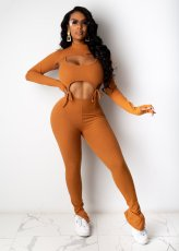 Finger Hole Long Sleeve Ribbed Cropped Tops And Pants Elegant Two Piece Set CHY-1273