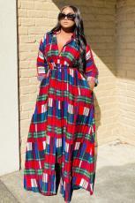 Plus Size Fashion Plaid Shirt Long Sleeve Maxi Dress CHY-1278