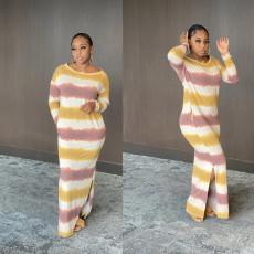 Casual Striped Print Slit Long Dress CHY-1275