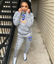 Plus Size Fashion Sports Print Long Sleeve Trousers Sweatshirt Suit NYF-8023