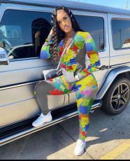 Map Printed Casual Sports Long Sleeve Pants Suit SHA-6201