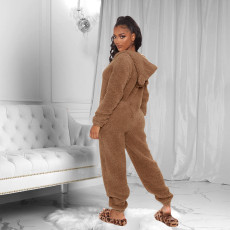 Winter Wram Solid Hooded Plush Jumpsuits TE-4133