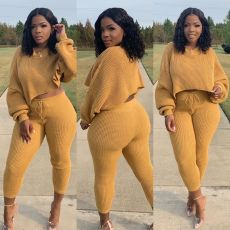 Casual Solid Long Sleeve Two Piece Pants Set QY-5219