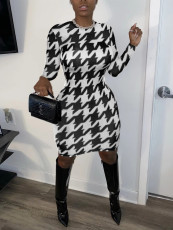 Houndstooth Print Long Sleeve Bodycon Dress MK-3033