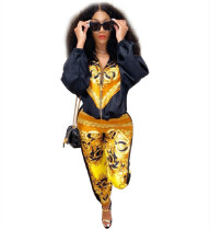 Fashion Long Sleeve Trousers Printed Two Piece Set SZF-6021