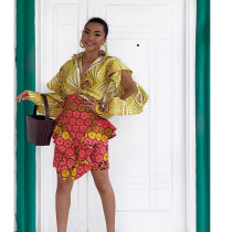 Fashion Print Blouse And Skirt Two Piece Set SZF-6019