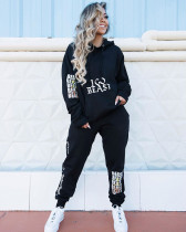 Casual Fashion Letter Print Long Sleeve Hoodie Top And Trouser Set SZF-6022