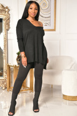 Plus Size Solid V Neck Long Sleeve 2 Piece Suits ML-7383