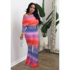 Printed Bat Sleeve Flared Pants Casual Two Piece Set XSF-6005