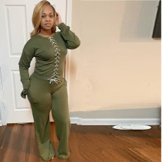 Casual Solid Lace Up Long Sleeve 2 Piece Sets ABF-6632