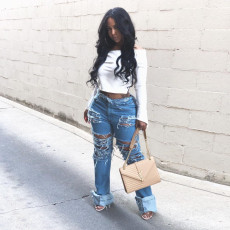 Denim Ripped Hole Inelastic Straight Jeans Pants HSF-2086