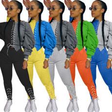 Contrast Color Lace Up Sweatshirt 2 Piece Pants Set CM-786