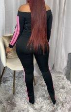 Casual Slash Neck Zipper Top Split Pants 2 Piece Suits CM-797