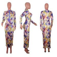 Sexy Printed Zipper Long Sleeve Slim Maxi Dress OBF-5027