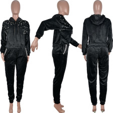Casual Beading Hoodie Pants Two Piece Suits OBF-5031