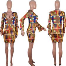 Geometric Print Low Cut Full Sleeve Mini Dress OBF-5025
