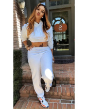 Solid Hooded Crop Top And Pants 2 Piece Sets FNN-8551