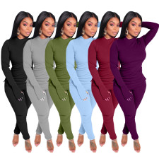 Plus Size Solid Long Sleeve Two Piece Sets OBF-5010
