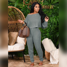 Solid Knitted Sweater Pants Two Piece Sets PN-6620