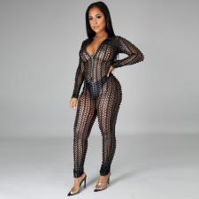 Sexy Long Sleeve Zipper Hollow Jumpsuits PN-6628