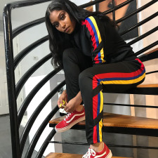 Casual Patchwork Tracksuit Two Piece Suits YN-1059