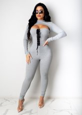 Sexy Lace Up Long Sleeve Two Piece Pants Set PIN-8537