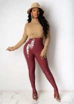 Sexy PU Leather High Waist Split Skinny Pants ZKF-1043