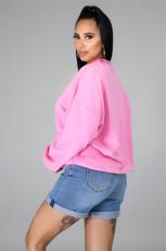 Casual Lip Print Long Sleeve O Neck Sweatshirt Top FENF-020