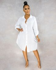 Loose Casual Solid Color Shirt Dress OLYF-6006