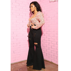Plus Size High Waist Ripped Hole Flared Jeans HSF-2364