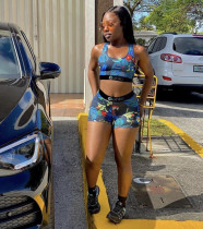 Fashion Print Sports Fitness Vest And Shorts Two Piece Set OLYF-6020