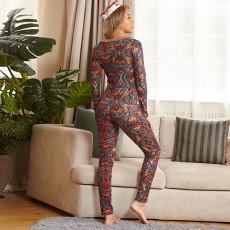 Sexy Printed Slim Long Sleeve Jumpsuit OSIF-20882