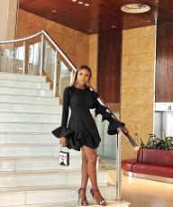 Sexy Solid Ruffled Long Sleeve Mini Dress AWYF-L661