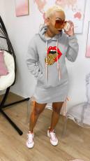 Casual Lips Print Plush Full Sleeve Hoodies Dress YN-1058