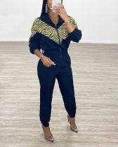 Fashion Casual Sports Splice Zipper Jumpsuit YJF-8332