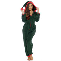Christmas Fur Plush Hooded Long Sleeve Jumpsuit SNF-5011
