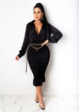 Sexy V Neck Long Sleeves Slim Midi Dress SFY-193