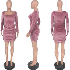 Square Neck Long Sleeve Velvet Sexy Nightclub Ruched Mini Dress YJF-8364